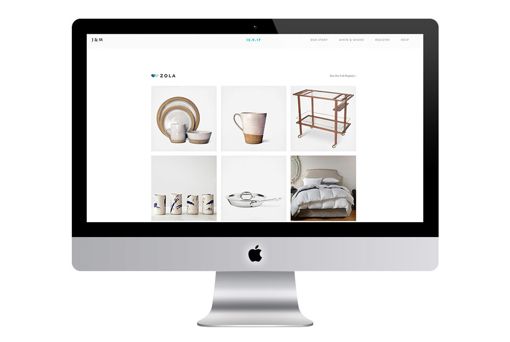 Custom Modern Squarespace Wedding Website Design Showing Registry