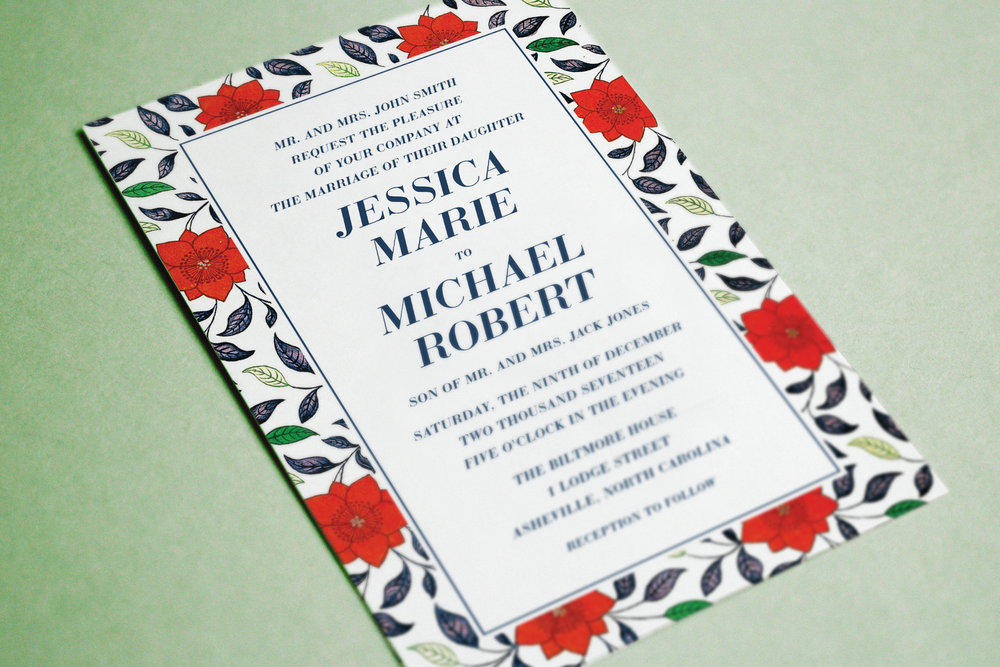 Custom Modern Wedding Invitation with Red Rose Floral Border