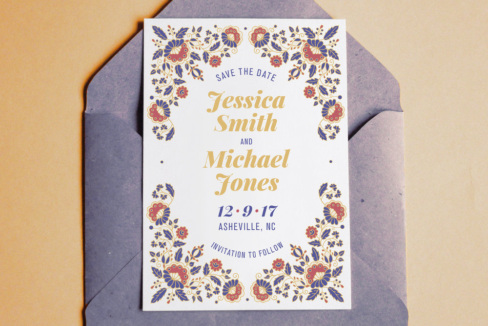 Custom Modern Blue, White, and Red Save the Date on Top of Blue Envelope