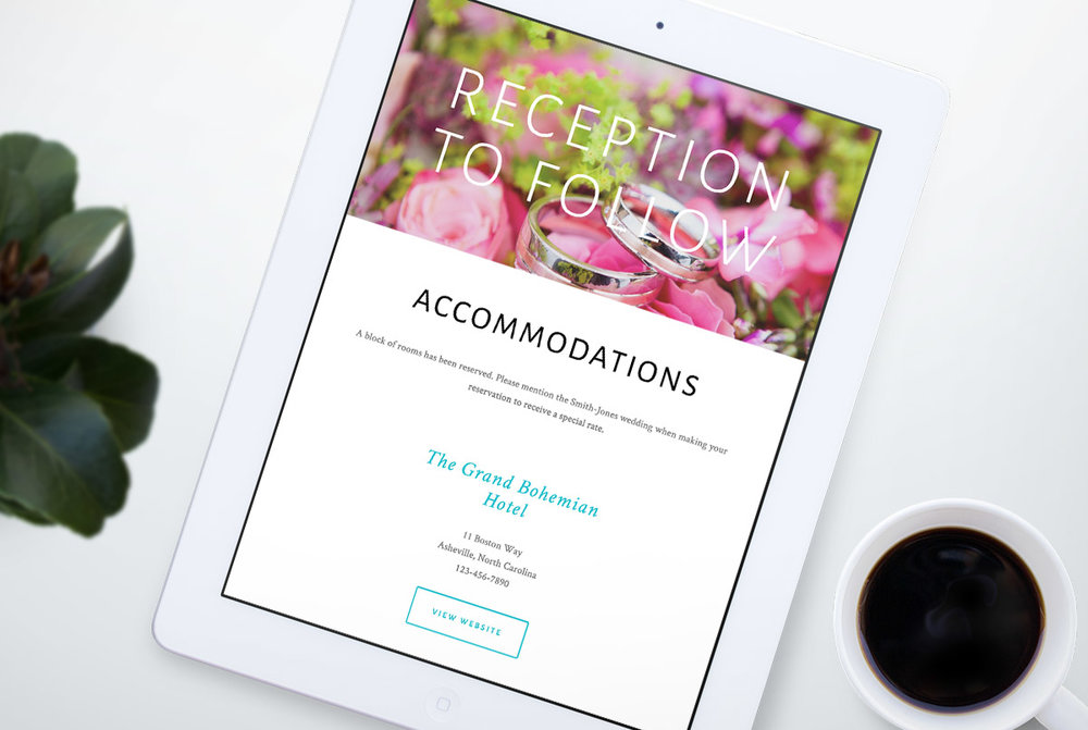 Custom Squarespace Wedding Website Accommodations Page on iPad