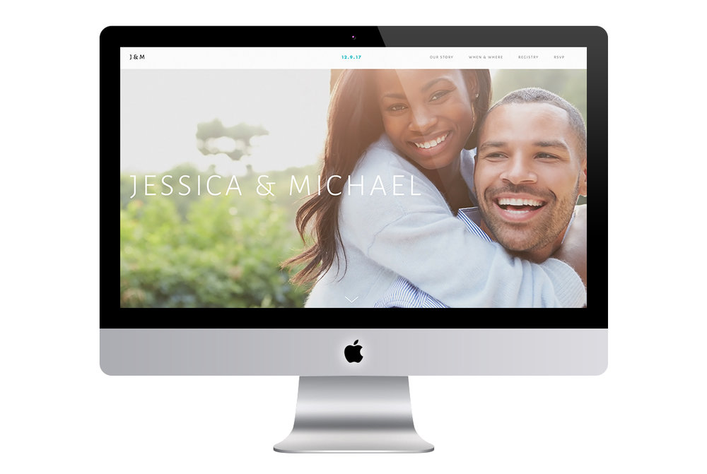 Custom Modern Squarespace Wedding Website Design with Full Screen Photo of Engaged Couple