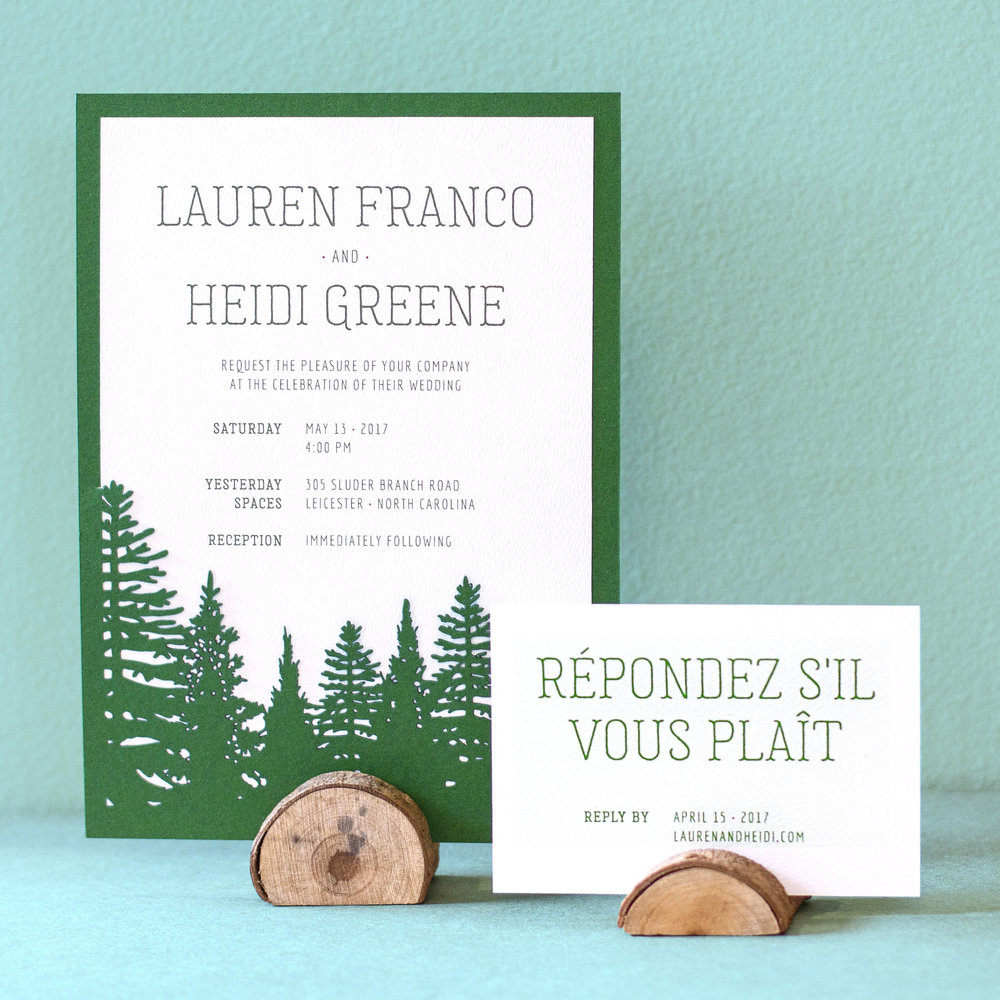 Custom rustic modern wedding invitation design with forest green diecut pine tree pocket and rsvp card