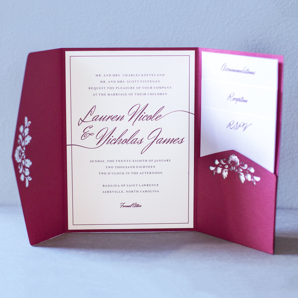 Custom laser cut trifold pocket burgundy classic script wedding invitation with floral design, rsvp card, details card, and accommodations card