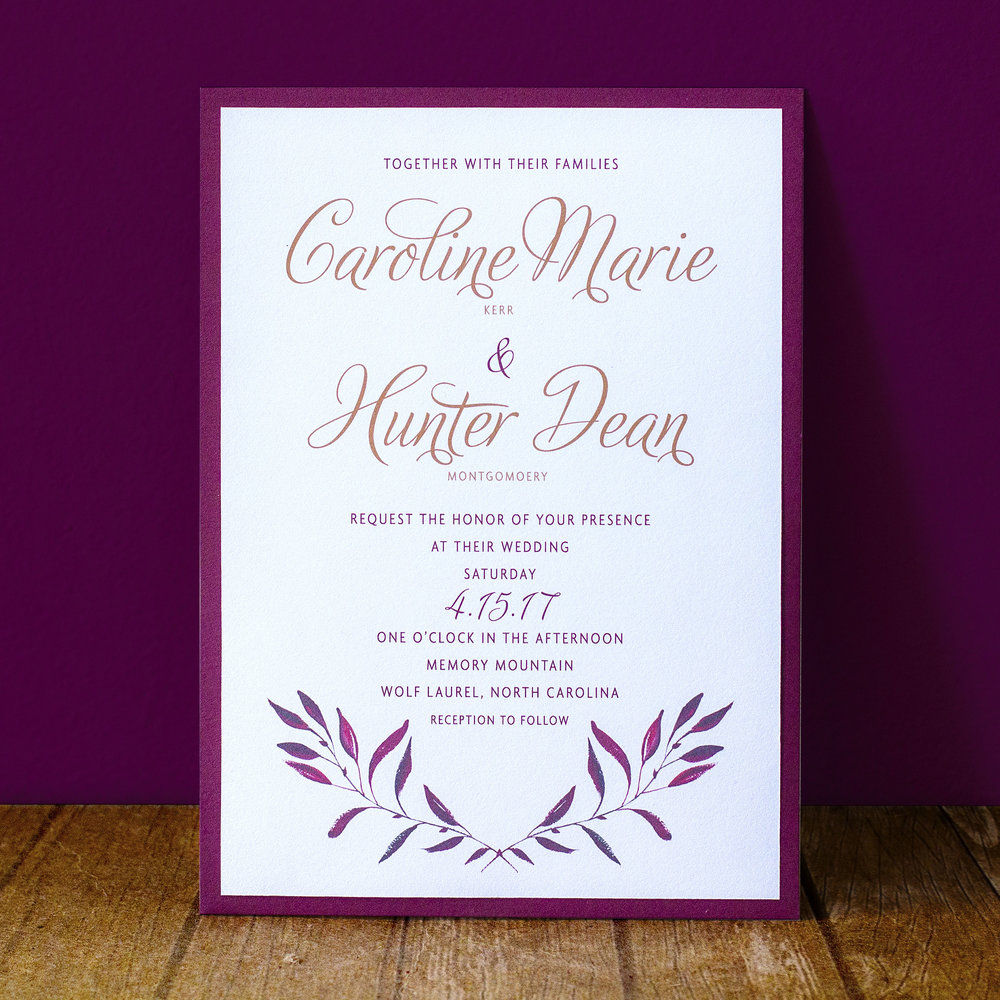 Custom pocket classic script gold and burgundy invitation design with fall floral leafy flourishes
