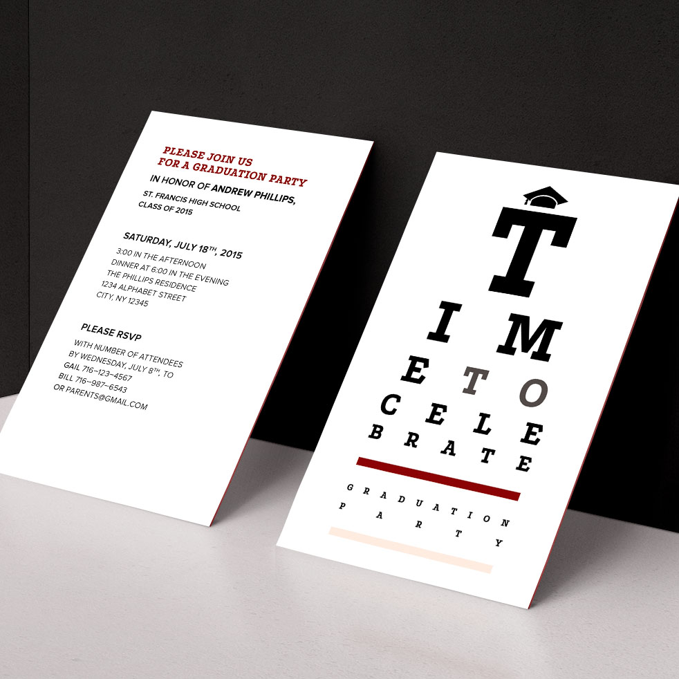 Red and gray high school graduation party invitation with optometry eye chart theme, front and back, propped against black wall.