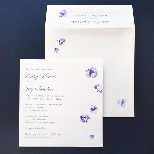 Congratulations to Kathy and Jay, who got married last weekend at @junebug_asheville! 💙 It was so lovely to work with them on this simple yet sophisticated hydrangea invitation! The invite and it's matching envelope were printed on a beautiful textured linen paper stock. Wishing Kathy and Jay much happiness! 💕 . . . . . #weddinginvitations #weddinginvites #weddingstationery #custominvitations #bluehydrangea #hydrangeawedding #floralwedding #summerwedding #ashevillewedding #mountainwedding #retrowedding #vintagewedding #outdoorwedding #blueridgewedding #ncwedding #wncweddings #weddingplanning #invitationdesigner #ashevilleevents #wncevents #828events #invitationinspiration #828weddings #destinationwedding #biltmorewedding #customdesign @neenahpaper