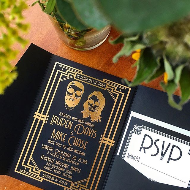 Happy Halloween!!! 🎃 Celebrating with this spooky invitation for Lauren and Mike, who got married this past weekend at the @ashevillemasonictemple! 👻 We used this sleek black pocket folder to house their gold foil stamped invitation with custom skeleton illustrations by the bride & groom themselves. 💀 . @shaybrownevents 📝 . . . . . #sbevents #shaybrownevents #masonictemple #ashevillemasonictemple @cardsandpockets #goldfoil #foilstamping #happyhalloween #halloween2018 #halloweenparty #halloweeninvitation #halloweenwedding #tilldeathdouspart #ashevillewedding #blueridgewedding #ncwedding #wncweddings #custominvitations #weddinginvitations #weddingstationery #customstationery #invitationdesign