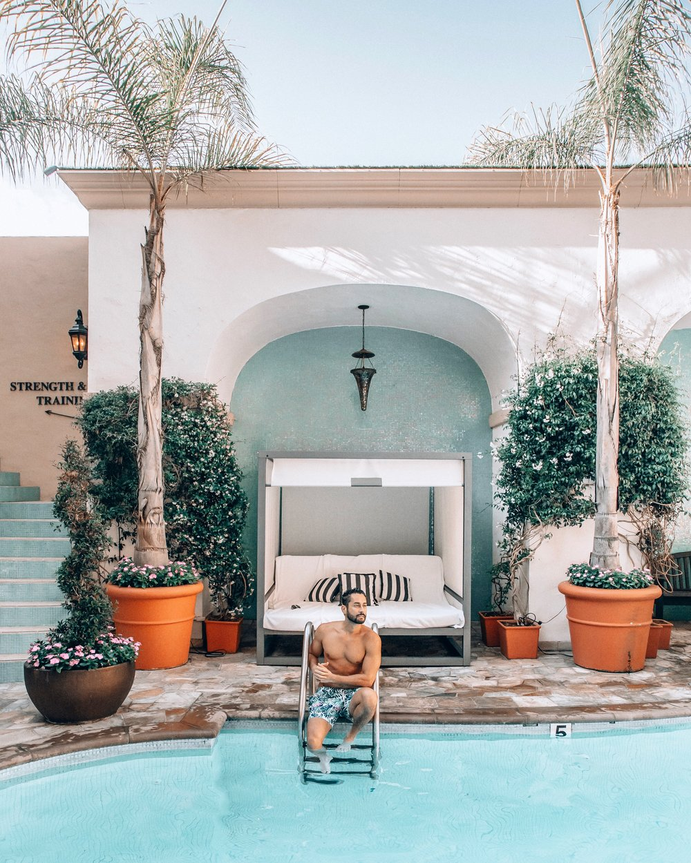 The classic pool at the Beverly Wilshire is a perfect place to relax.