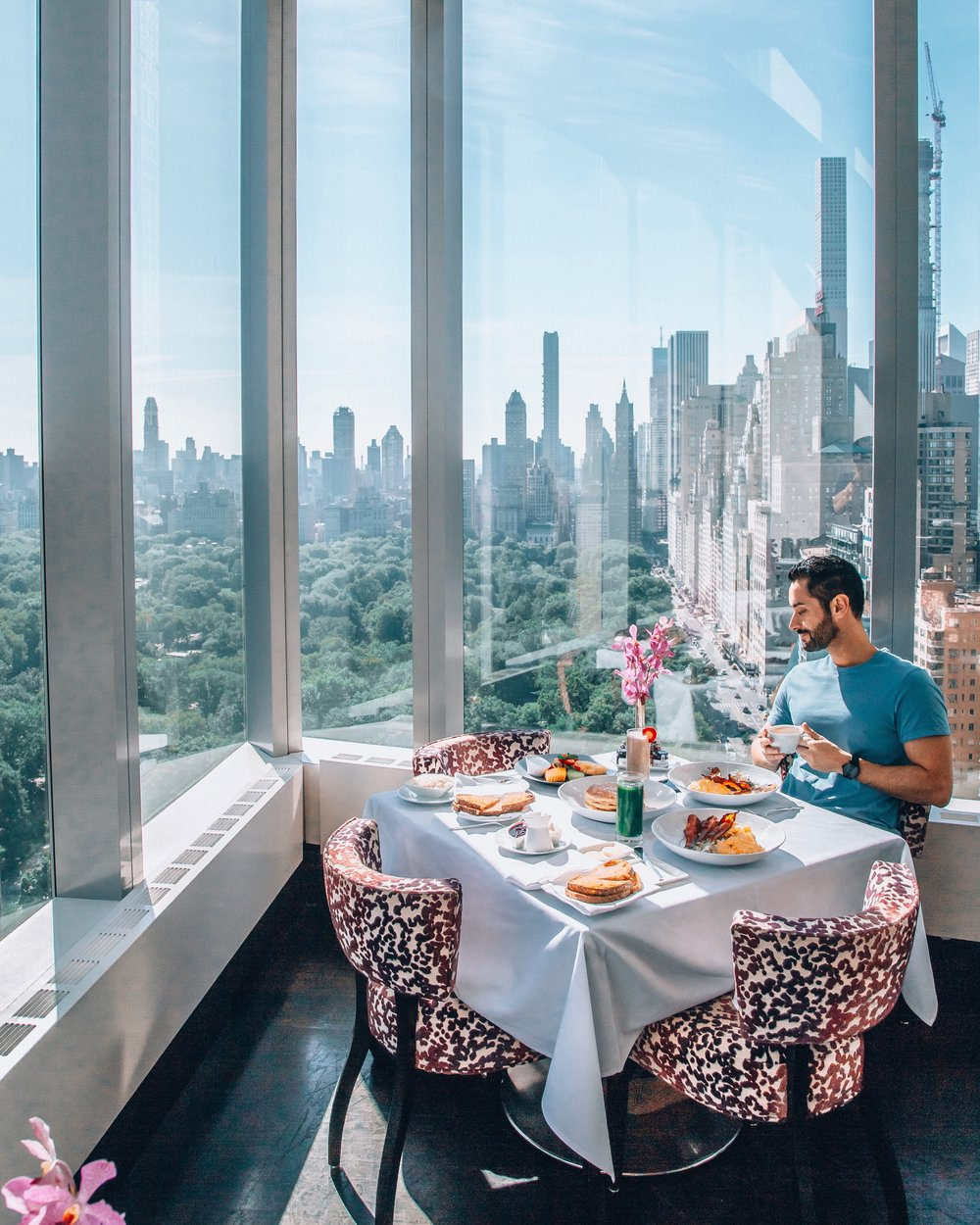 The views of Central Park are simply breathtaking. This is the main restaurant Asiate where breakfast is also served.
