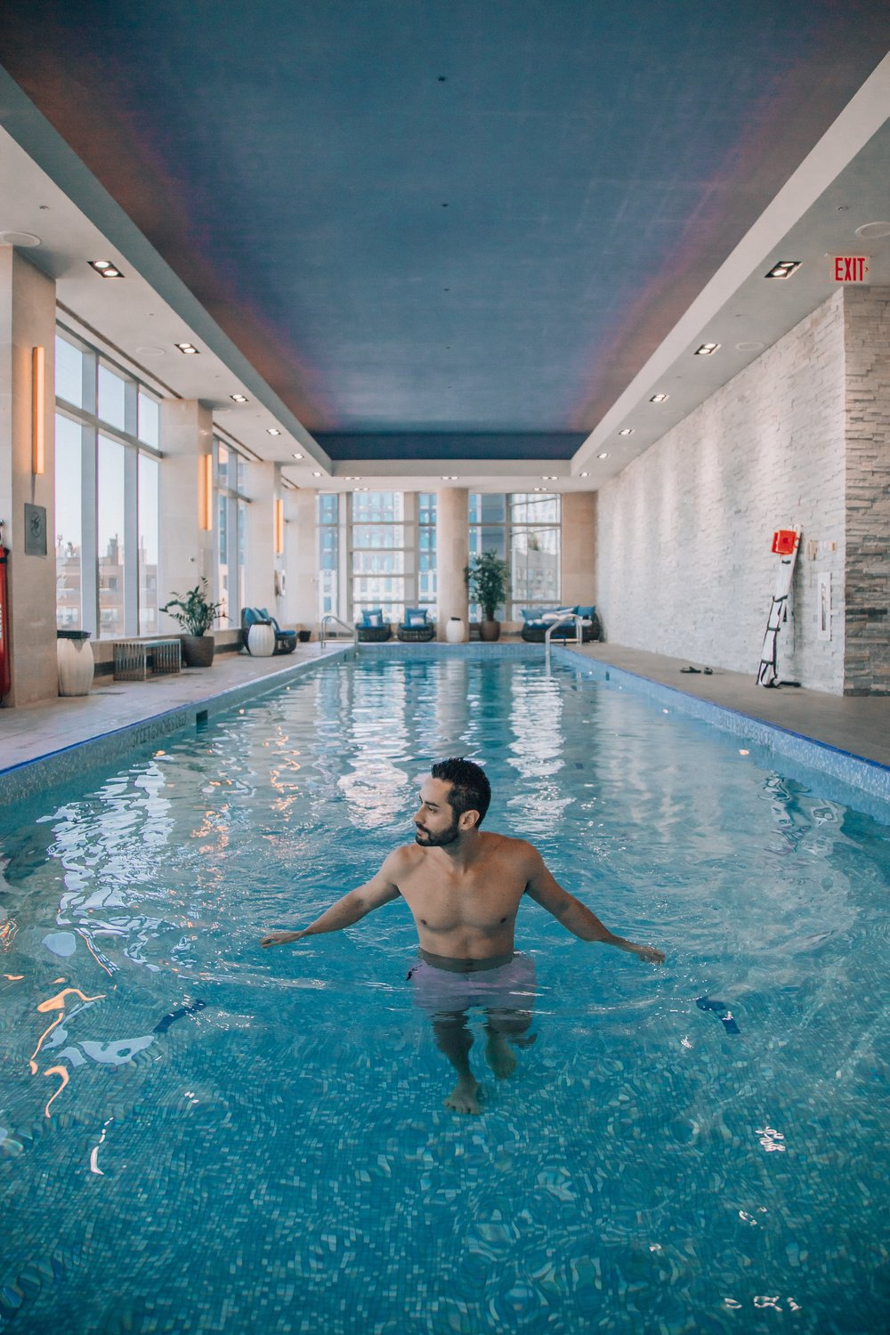 A pool in New York City is the ultimate luxury.   I enjoyed a quiet morning swim and workout at the gym on the same floor.