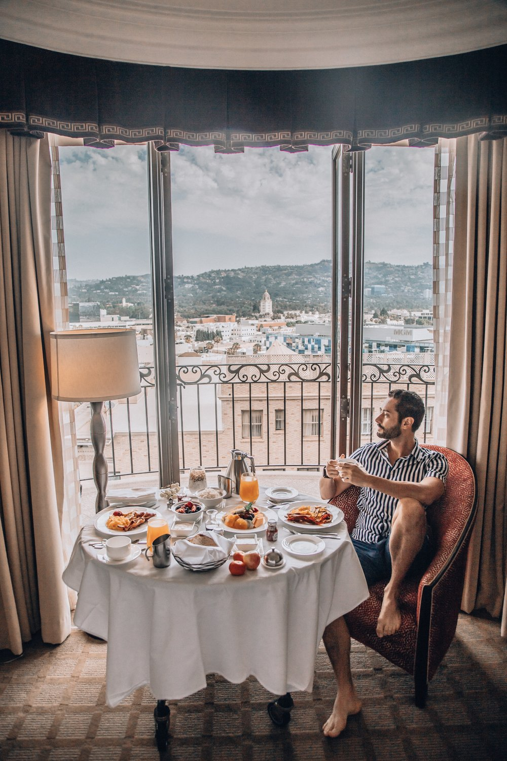 I really enjoy having breakfast especially when it's in a beautiful suite with a stunning view of Beverly Hills.