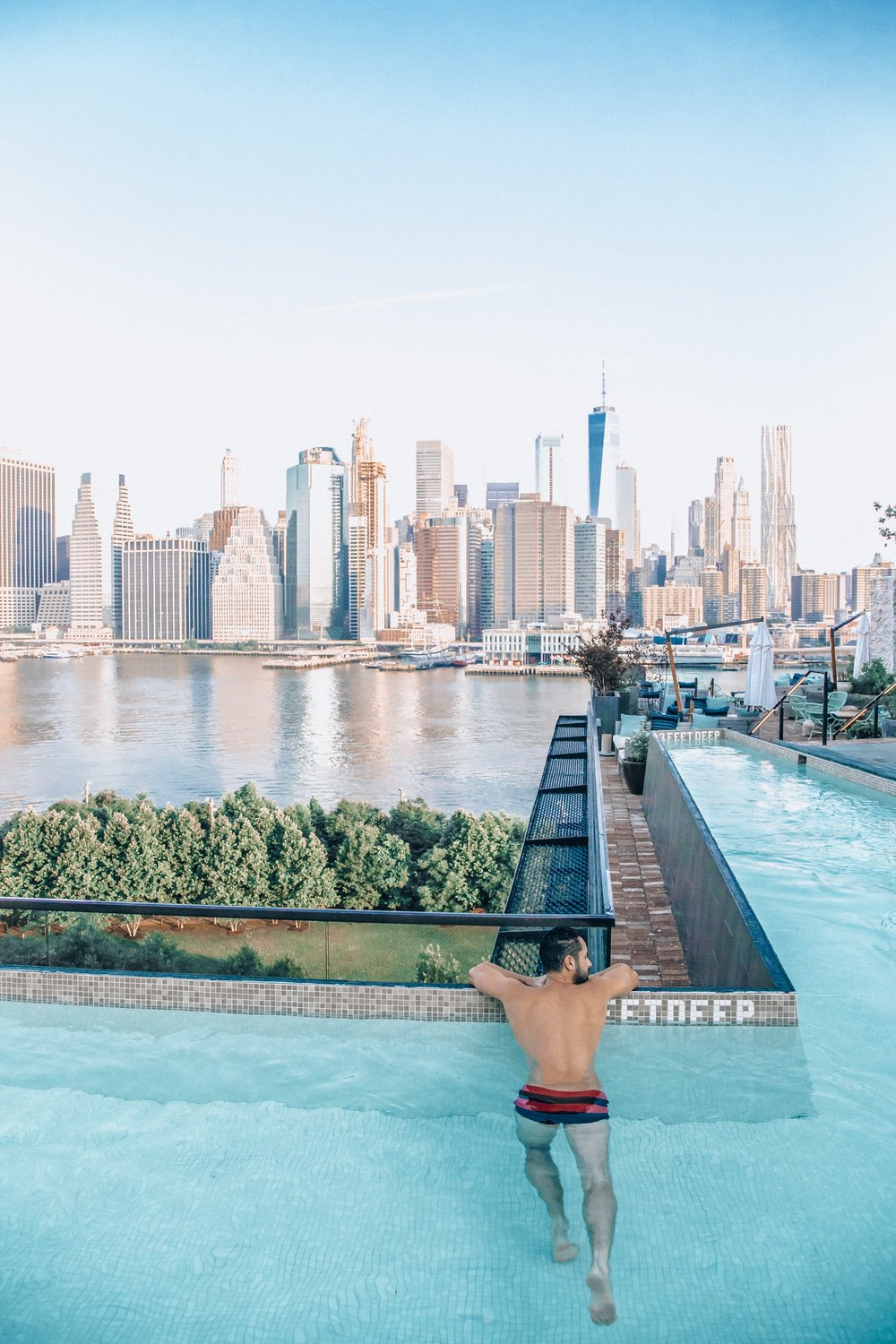 The rooftop pool has the best views of the Manhattan skyine.