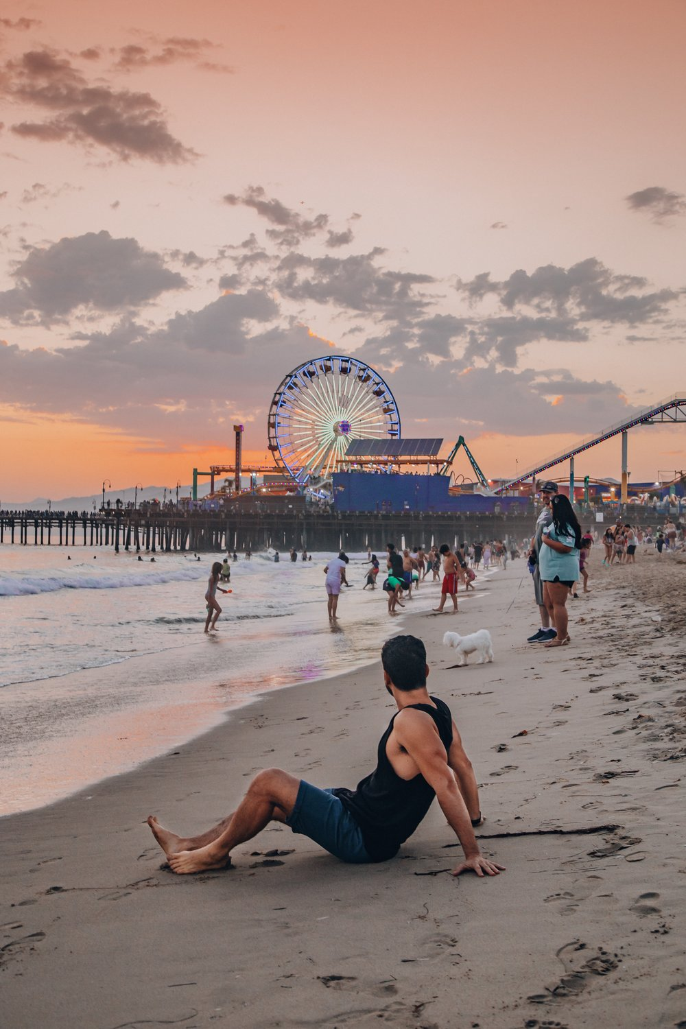 The famous Santa Monica Pier at sunset is such a vibrant place.