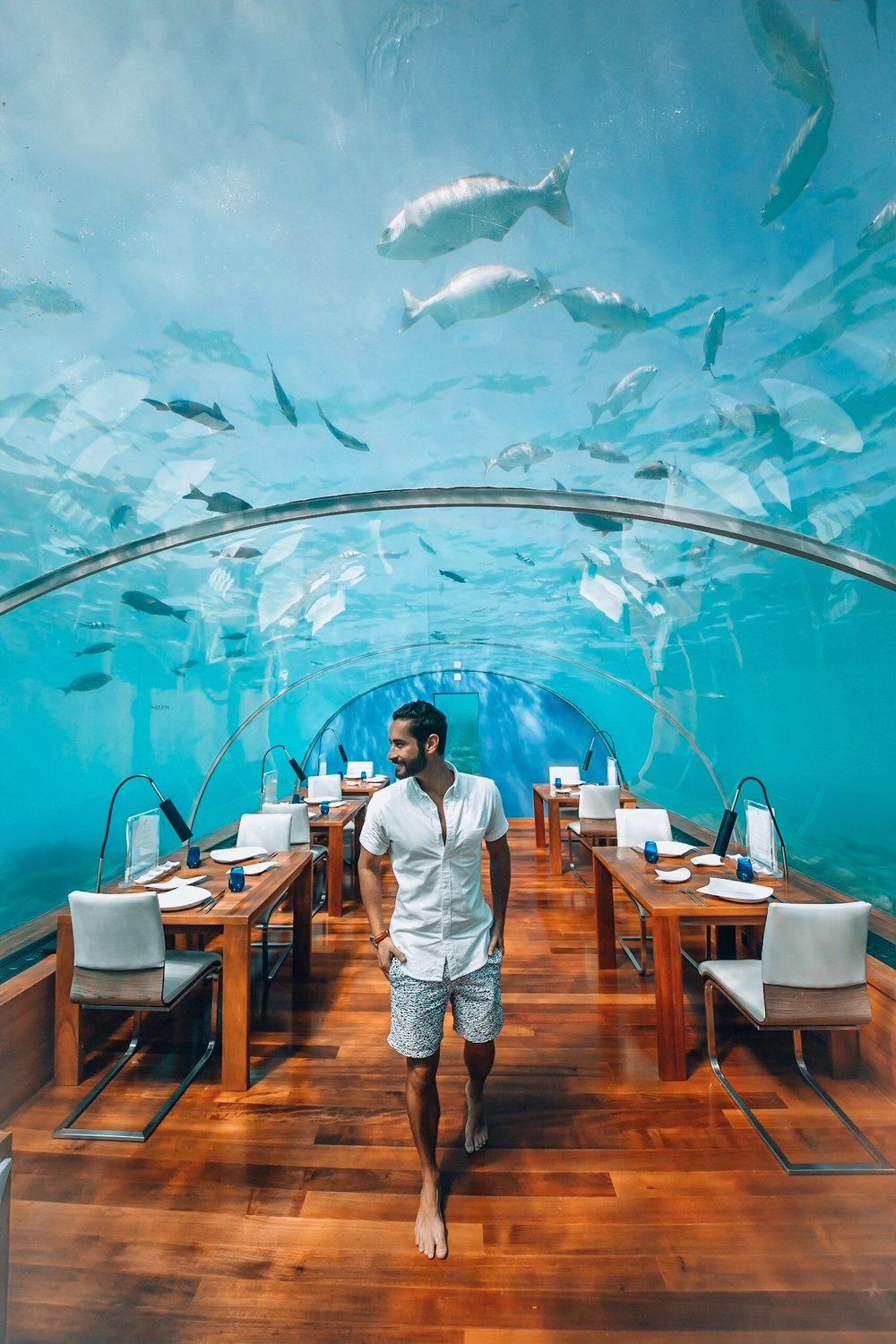 Conrad Maldives is a wonderful destination resort offering many unique experiences- the most famous perhaps being their underwater restaurant! The resort occupies two islands which are connected by a bridge. One is larger ideal for families, and the smaller one is perfect for couples and those who want more privacy.
