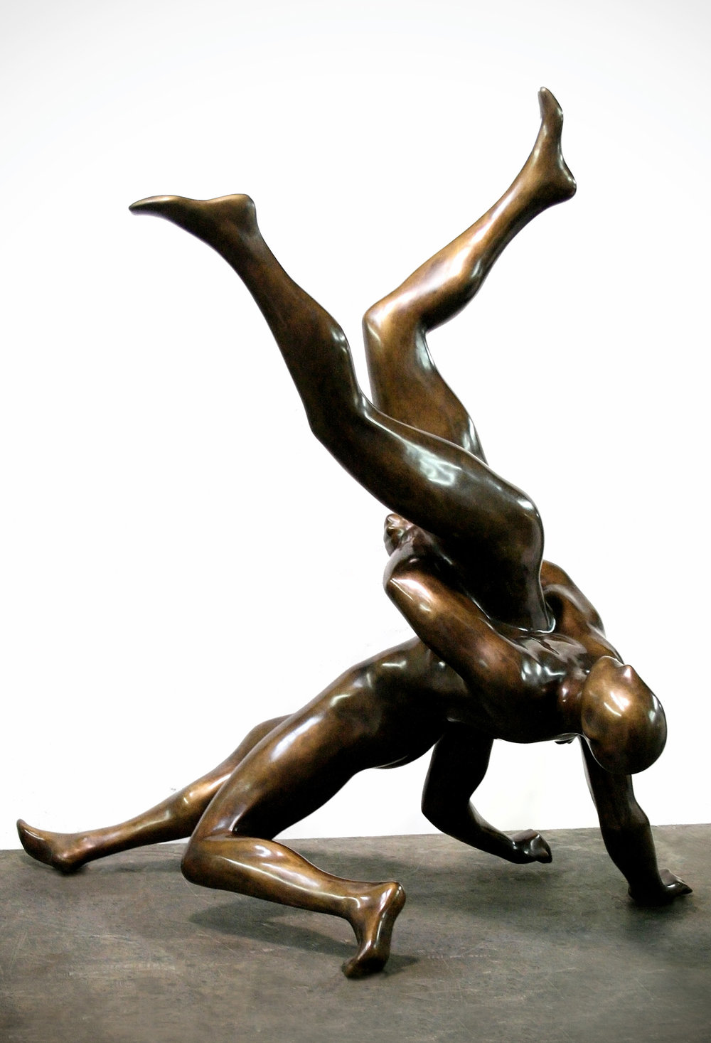 Wrestlers  .  2016 . Bronze . 40 x 37 24 in