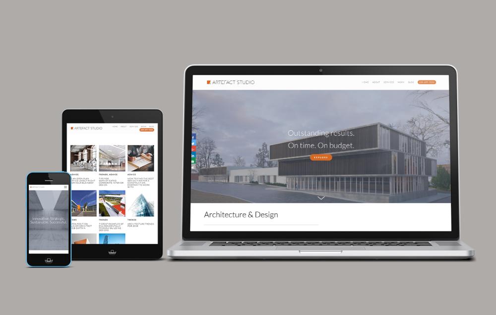 Device mockup of ARTEFACT studio website.