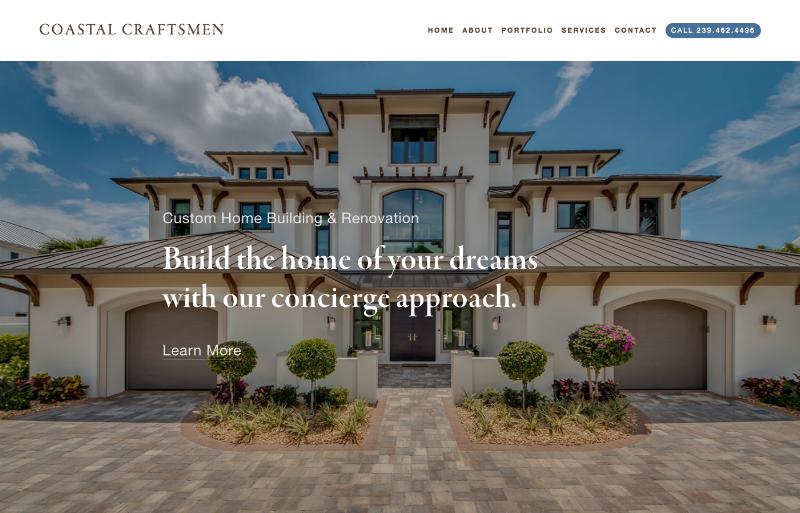 Homepage of Coastal Craftsmen Construction website.