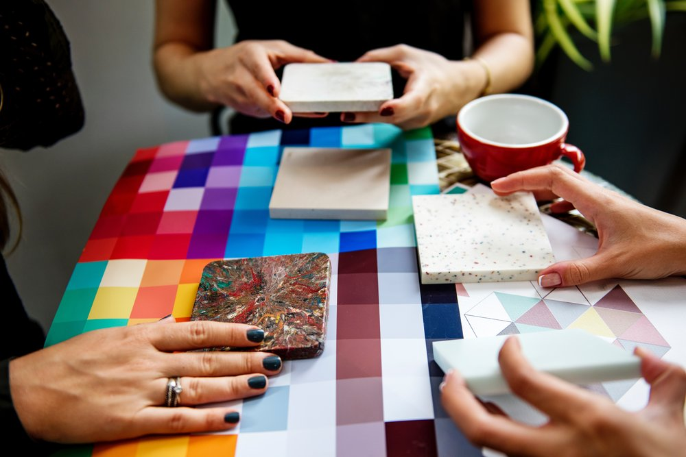Image of color swatches and sample tile.