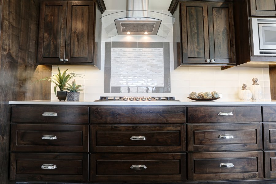 Stained Walnut Cabinets in New Construction