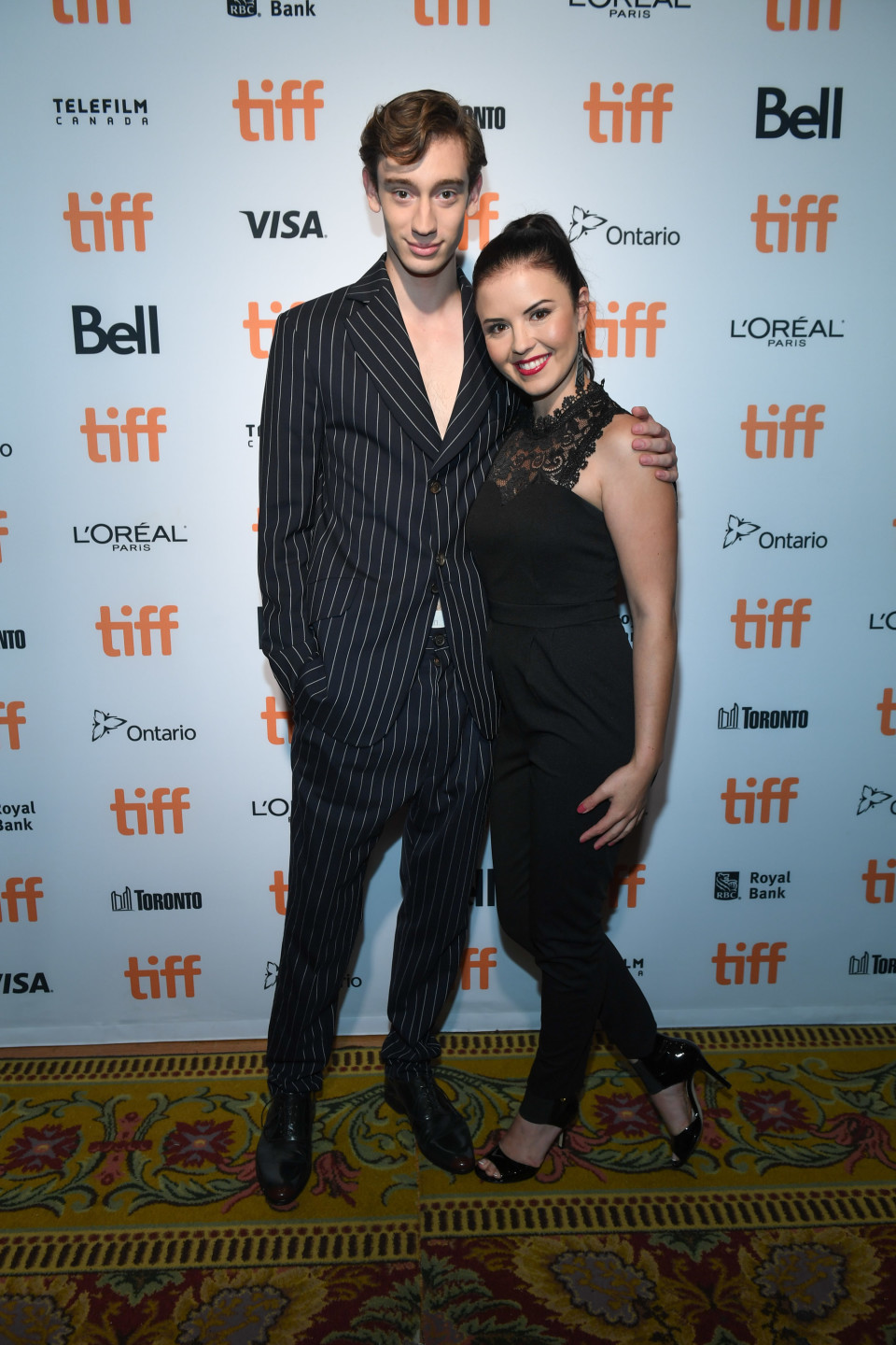 Theodore Pellerin and Mary Galloway at the 2017 Toronto International Film Festival.