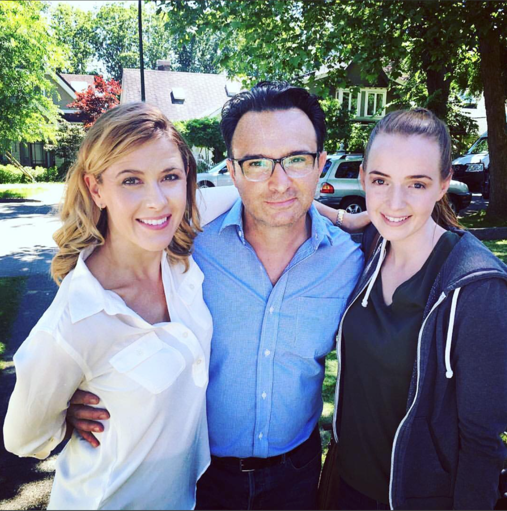 Caroline Cave, John Cassini, and Taylor Hastings on the set of  The Ride Home .