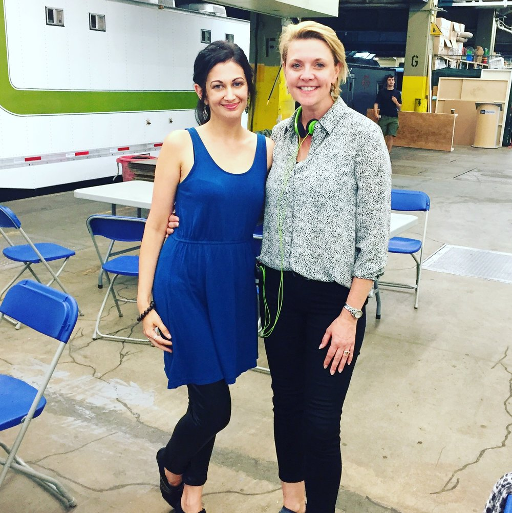 Sabrina visiting Amanda Tapping on the set of  The Romeo Section  in 2016.
