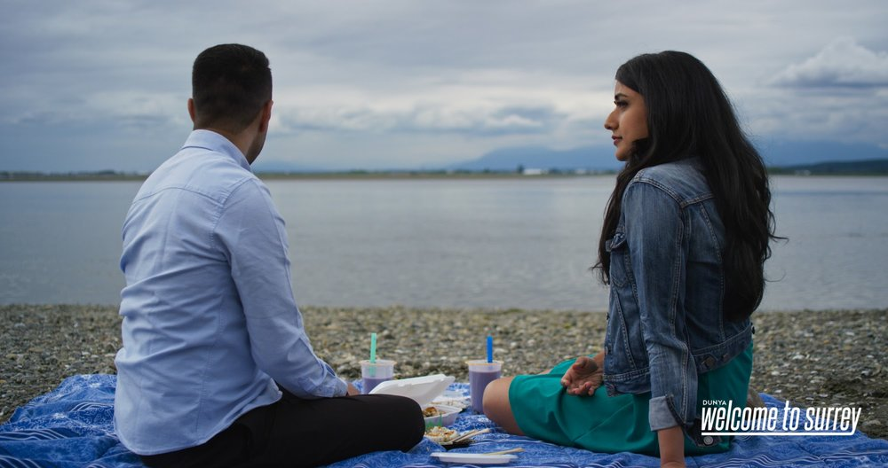 Shyam Valera and Suneet Mann drink bubble tea and eat sushi and chaat on Crescent Beach in  Welcome to Surrey .