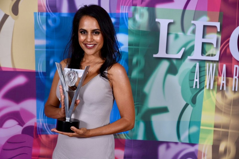 Agam Darshi won Best Guest Performance by a Female in a Dramatic Series for portraying Wakti Wapnasi in  Dirk Gently's Holistic Detective Agency . Photo courtesy of the Leo Awards