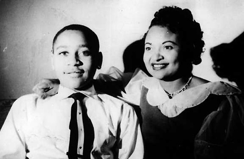 Emmett Till and his mother. Image via Wikipedia Commons.