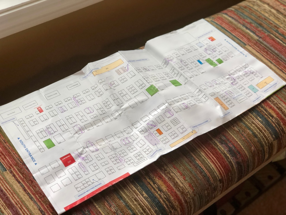 """Our team member, Jenny Herrera, used pen and paper (unheard of!) to plan her day on the FETC expo floor. """"The app was great to search for a particular company, but I wanted to work with this tangible visual to chart the most efficient path."""""""