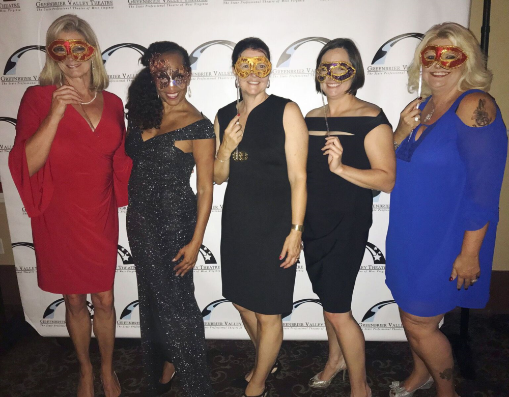 Guests at Greenbrier Valley Theatre's Masquerade in the Mountains included (left to right) Sandy Hoffman, cabaret artist Gabrielle Lee*, Angie King, Jen Runyon, and Mereda Doss. (Photo courtesy / Jen Runyon)  * denotes member of Actors' Equity Association.
