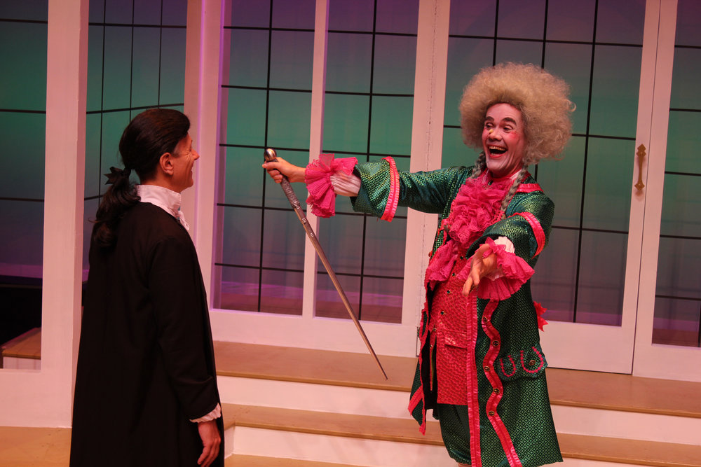 Joseph Murray* as Frank and Richard Rowan* as Oronte in GVT's 2018 production  The School for Lies . (Photo Courtesy / Greenbrier Valley Theatre)      * denotes members of Actors' Equity Association.