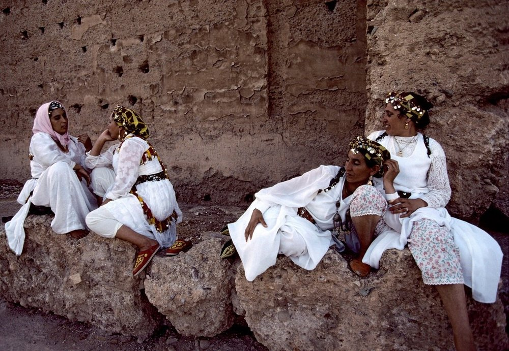 Morocco, Marrakech. 1995. Berber women during a festival celebrating Berber culture.