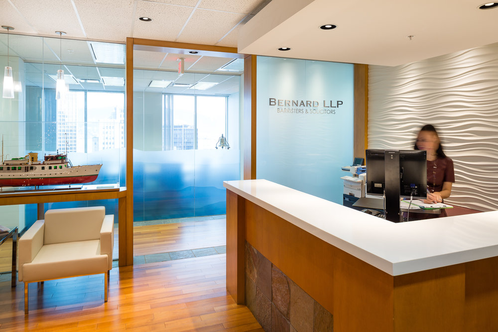 Reception area and receptionist at a law office in Vancouver, BC