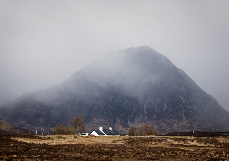The pyramidal  Buachaille Etive Mor dominates the drive into Glencoe, and the well-photographed Black Rock Cottage is a must for any landscape photographer.