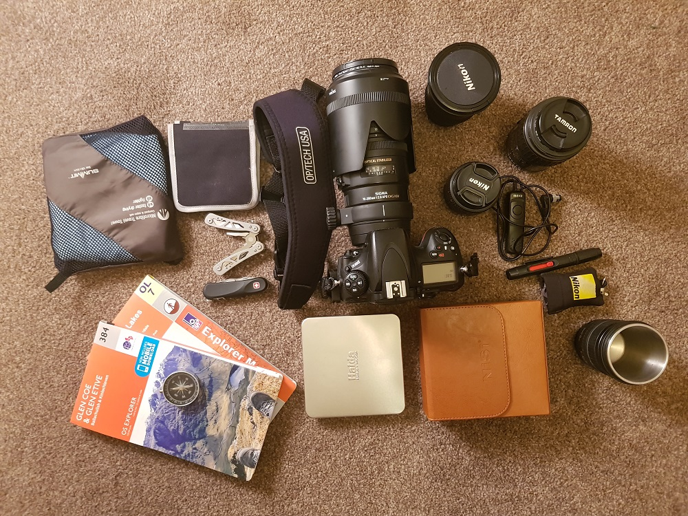 This set of gear easily fit in my budget camera backpack, with enough room left over for extra clothing and a flask.
