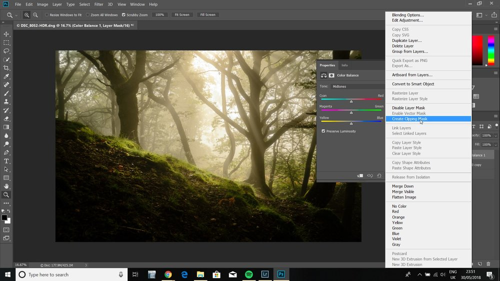 Adding a clipping mask ensures that the edits don't apply to your background layer.
