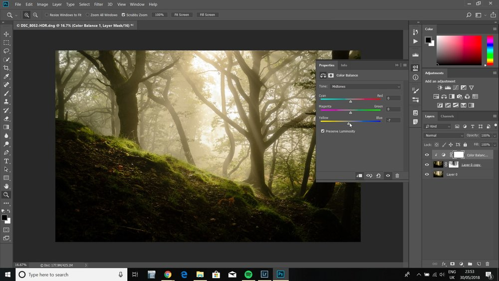 A small change to the colour temperature of the highlights and midtones adds a lovely warm glow to the Orton Effect.