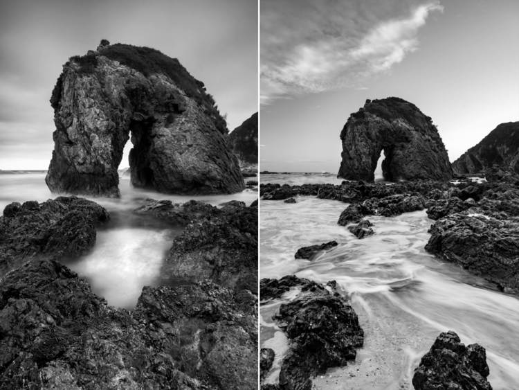 Horse Head Rock at Bermagui, New South Wales is one of my favourite places to shoot. While I'm happy with the shot on the left, 24mm wasn't quite wide enough for me. So, I had to rethink my composition and come home with a shot I wouldn't have otherwise.