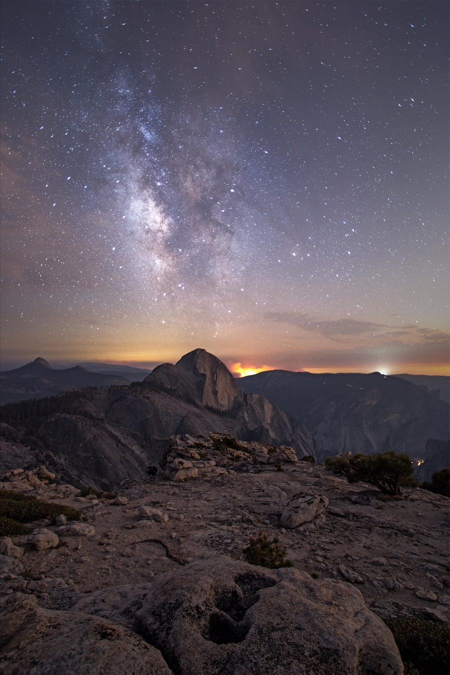 The Milky Way over Half Dome in Yosemite National Park
