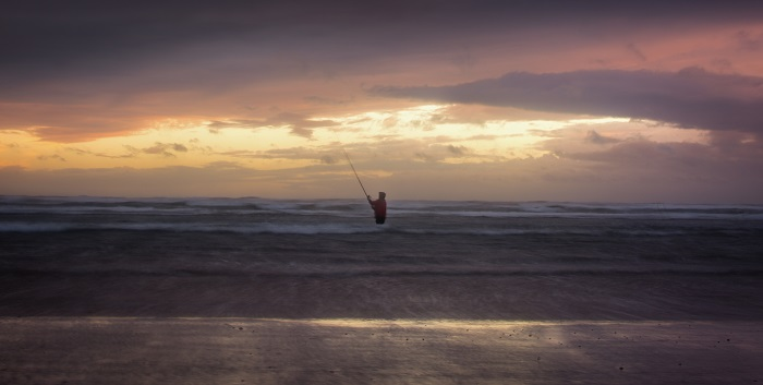 Ignoring the rule of thirds, I placed this wading fisherman away from those intersecting lines and put the horizon near the centre to give equal weight to the beautifully atmospheric sky and the layers of waves.