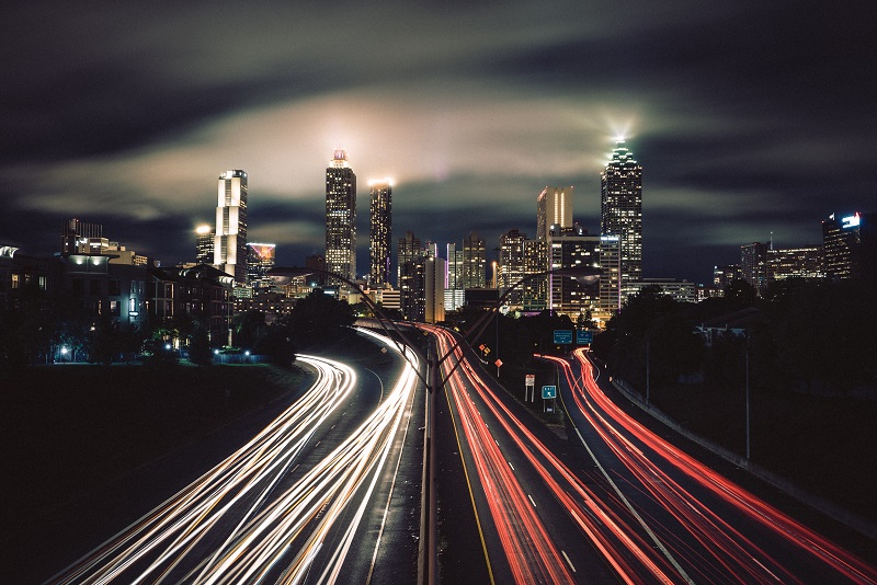 Light trails from moving cars can be a real attention grabber for the viewer, and will guide their eye towards the gorgeous cityscape beyond.