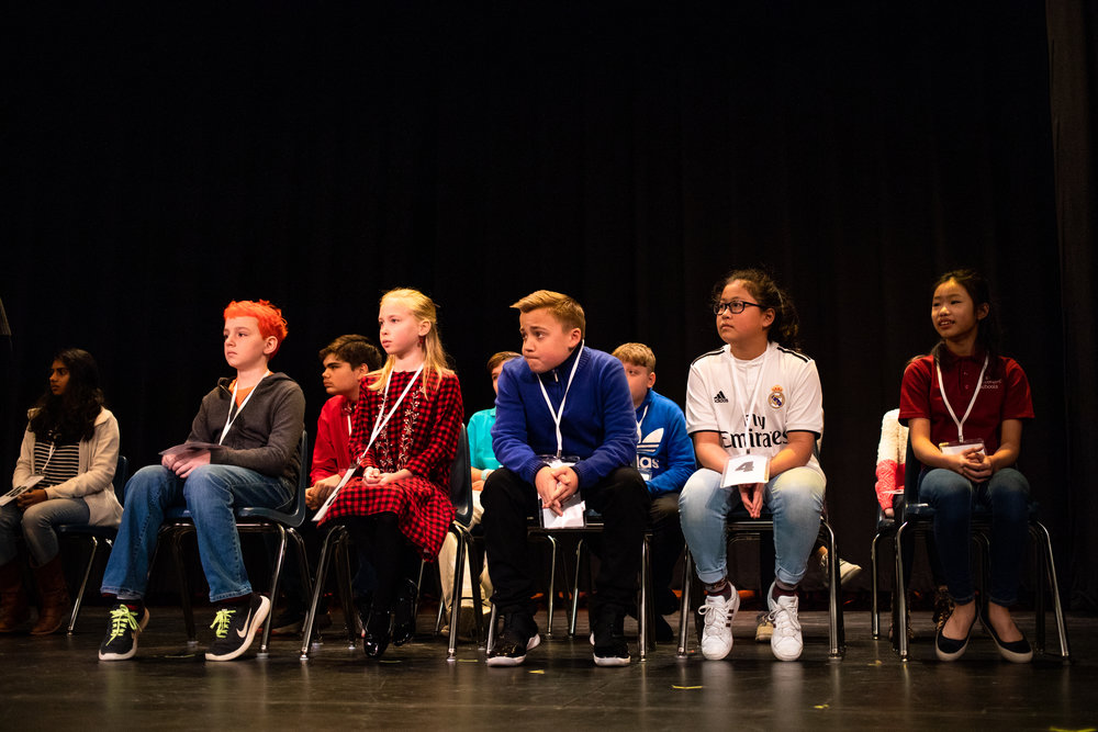 Participants prepare for the first round of the Lynchburg Regional Spelling Bee on March 9, 2019 at Dunbar Middle School for Innovation.