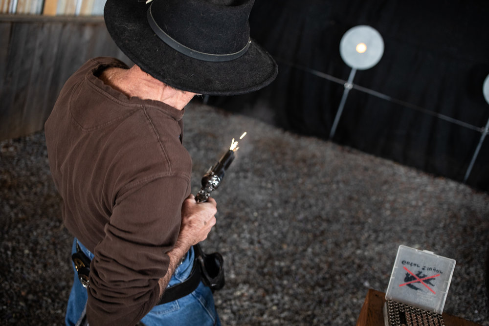 Kevin Wills aka Long Ranger fires his gun during the Grandview Gunslingers Cowboy Fastdraw Tournament in Bedford, VA. The Gunslingers are a Sanctioned Club for the Cowboy Fast Draw Association with headquarters in Fallon, Nevada.