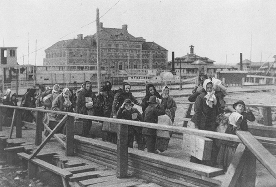 Arriving at Ellis Island circa 1900