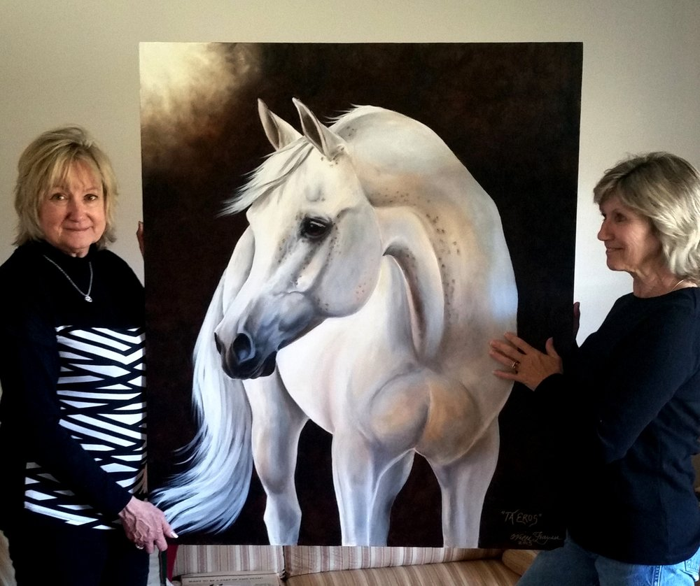 "Artist with Cathy Davis - Oil portrait of ""Eros"""