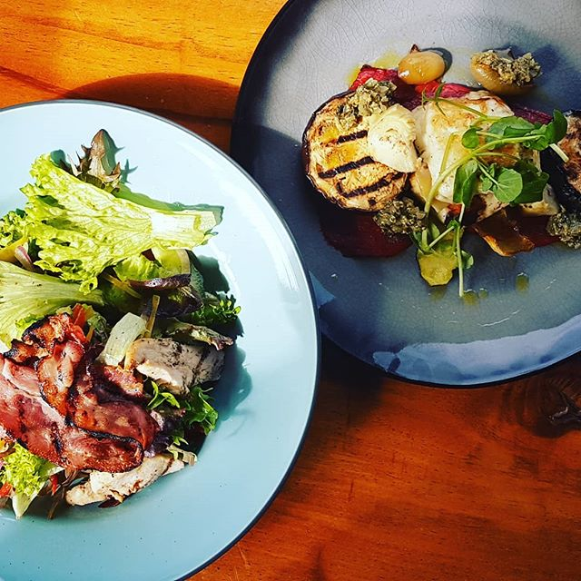 Few new addition to our menu. Grilled chicken, bacon salad. Pan seared haloumi, grilled eggplant, courgette, roast peppers and Salsa Verde. Not to mention these are keto and gluten free friendly. #Kauricottage #Newmenu