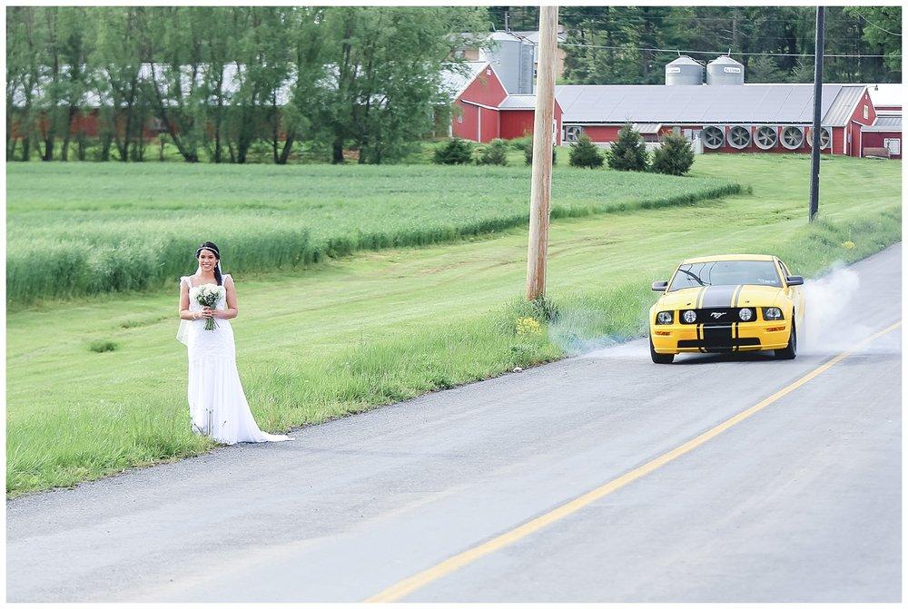 bride along the road