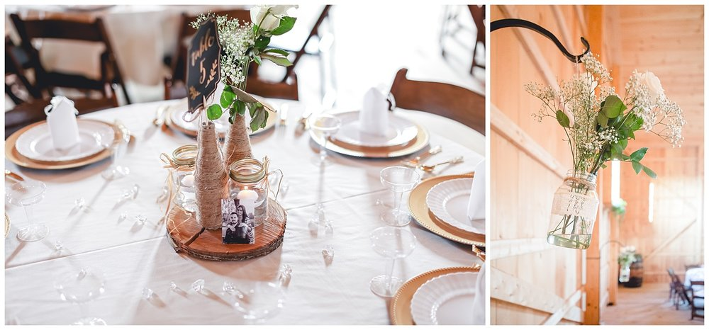 rustic wedding reception details