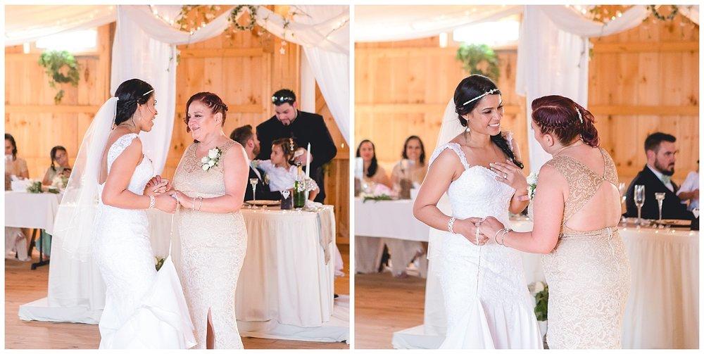 bride dances with mom